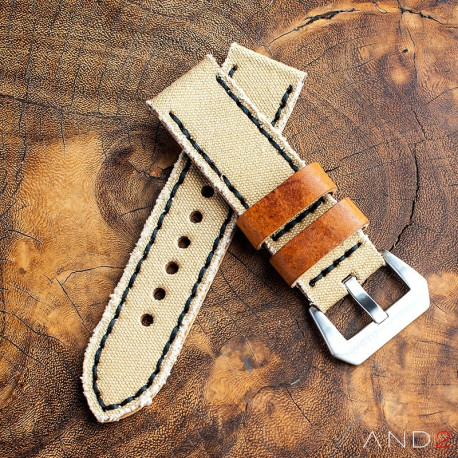 MILI Beige Canvas strap with Black Stitch 24mm