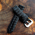 Braided Black Leather strap with Matching Stich 24mm