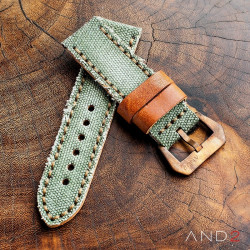 MILI Green Canvas Strap 24mm with Bronze Buckle