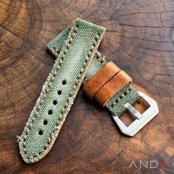 MILI Green Canvas Strap 24mm with Steel Buckle
