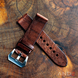 Vintage Cracked Croco Brown Leather Strap 24mm