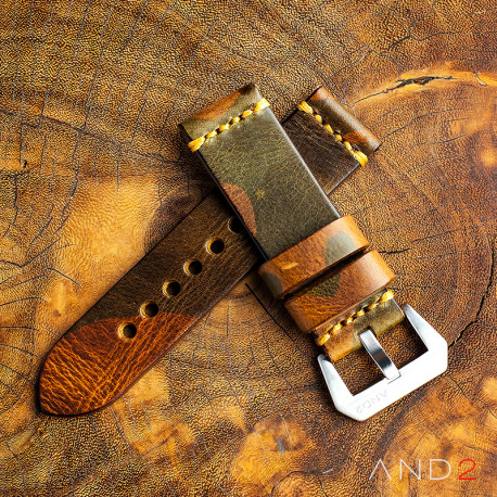 Military Camo Leather Strap 26mm(Dark Gold Cross Stitching)