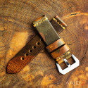 Military Camo Leather Strap(Dark Gold Cross Stitch)