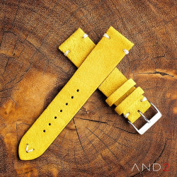 AND2 Wolly Irish Yellow Suede Leather Strap 19mm (White V-stiching)