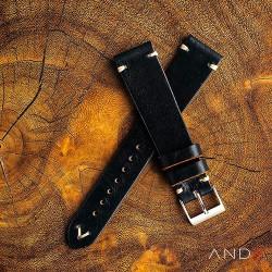 AND2 Laguna Black Shell Leather Strap 19mm(White V-Stitch)