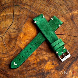 AND2 Wolly Green Forest Suede Leather Strap 19mm (White V-Stitching)