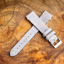 AND2 Wolly Sky Grey Suede Leather Strap 19mm (White V-Stitching)