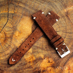 AND2 Wolly Coffee Brown Suede Leather Strap 19mm (White V-Stitching)