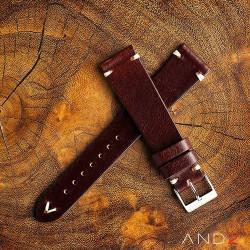 AND2 Laguna Night Brown Leather Strap 19mm(White V-Stitch)