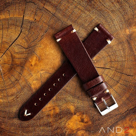AND2 Laguna Night Brown Leather Strap 19mm(White V-Stitch)