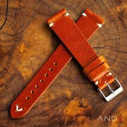 AND2 Laguna Medium Brown Leather Strap 19mm(White V-Stitch)