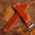Laguna Medium Brown Leather Strap 19mm(White V-Stitch)