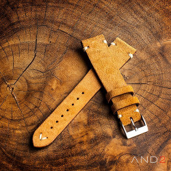 AND2 Wolly Medium Brown Suede Leathr Strap 19mm (White V-Stitching)
