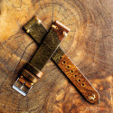 Military Camouflage Leather Strap(Gold V-Stitch)