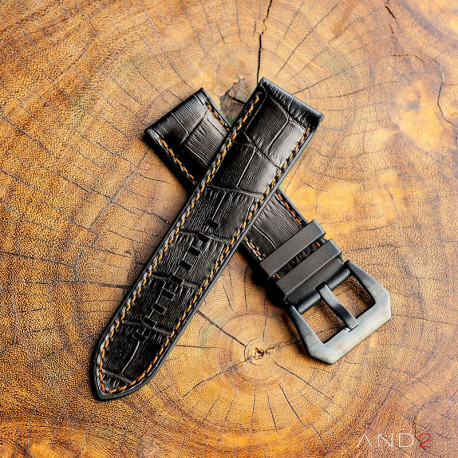 Calf Croco Black Rubber (Orange Stitching)