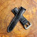 Calf Croco Black Rubber (White Stitching)