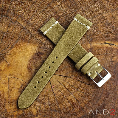 AND2 Chamonix Brass Leather Strap 19mm(White Cross Stitching)