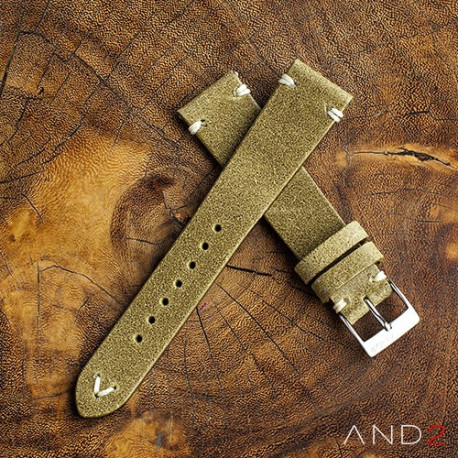 AND2 Chamonix Brass Leather Strap 19mm (White V-Stitching)