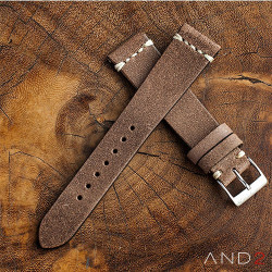 AND2 Chamonix Burly Leather Strap 19mm (White Cross Stitching)