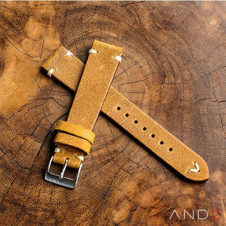 AND2 Chamonix Dark Gold Leather Strap 19mm (White V-Stitching)