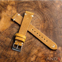 Chamonix Dark Gold Leather Strap 19mm(White V-Stitch)