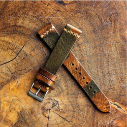 AND2 Classic Woods Camouflage  Leather Strap 19mm(Dark Gold Cross Stitching)