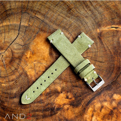 AND2 Wolly Olive Green Suede Leather Strap 19mm (White V-Stitching)