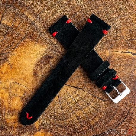 Wolly Diablo Suede Black Leather Strap 20mm(Red V-stitching)
