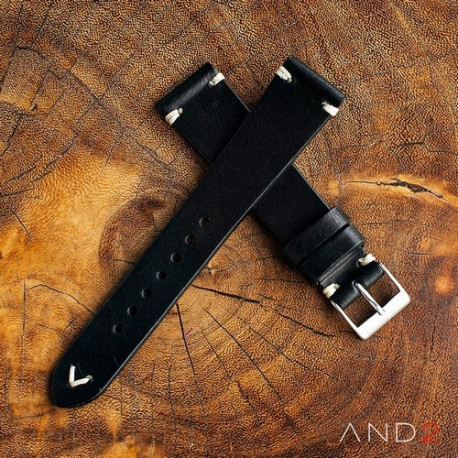 Laguna Black Leather Strap 20mm(White V-Stitching)