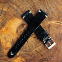 Vintage Cracked Croco Black Leather Strap 20mm(White V-Stitch)
