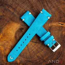 Wolly Sky Blue Suede Leather Strap 20mm (White V-Stitching)
