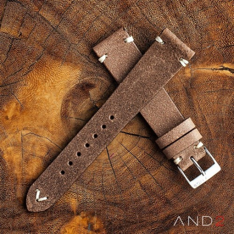 Chamonix Burly Leather Strap 20mm (White V-Stitching)