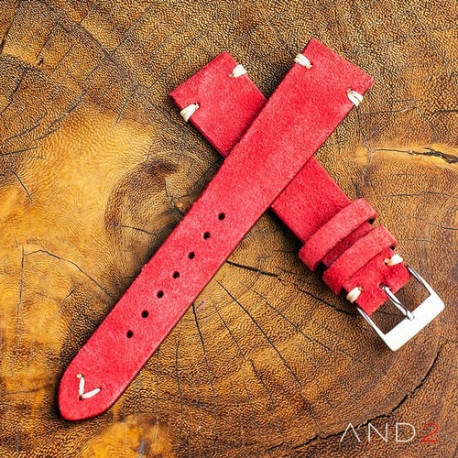 Wolly Crimson Red Suede Leather Strap 20mm (White V-stitching)