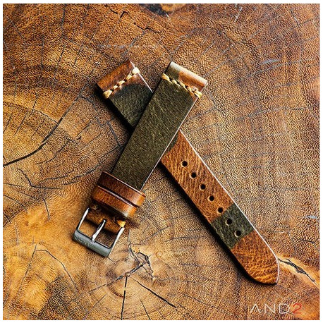 Military Camouflage Leather Strap 20mm (Dark Gold Cross Stitching)