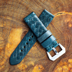 Braided Douglas Blue Leather Strap with Matching Stitch 24mm
