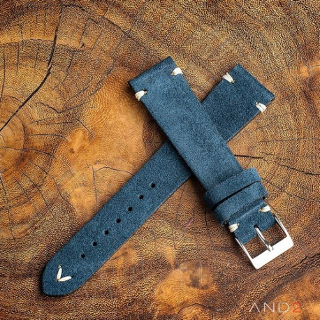 AND2 Wolly Ocean Blue Suede Leather Strap 19mm (White V-Stitching)