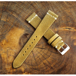 Chamonix Dark Gold Leather 19mm (White Cross Stitching)