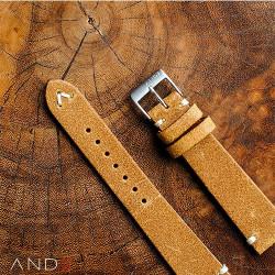 Chamonix Dark Gold Leather Strap 20mm(White V-Stitching)