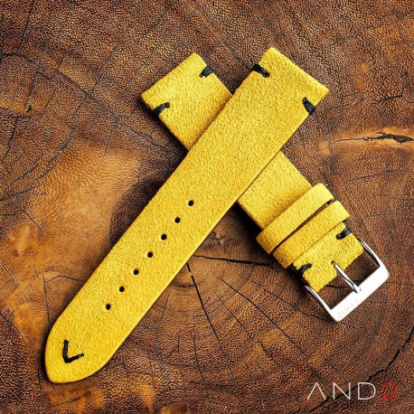 Wolly Irish Yellow Suede Leather strap 20mm ( Black V-Stitching )