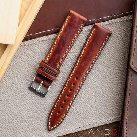 Kingsley Saddle Brown Leather Strap 20mm
