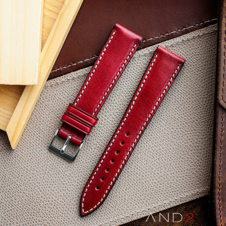 Kingsley Red Berry Leather Strap 20mm