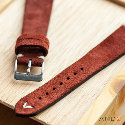 Wolly Nutella Brown Suede Leather Strap 20mm(White V-Stitching)