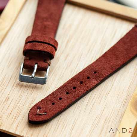 Wolly Nutella Brown Suede Leather Strap 20mm(Brown V-Stitching)