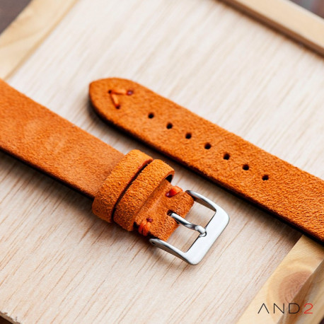 Wolly Orange Tangerine Suede Leather Strap 20mm(Orange V-Stitching)