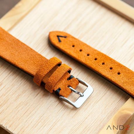 Wolly Orange Tangerine Suede Leather Strap 20mm(Black V-Stitching)