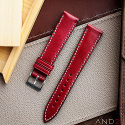 Kingsley Red Berry Leather Strap 22mm
