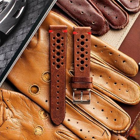 Speedy Racing Chestnut Leather Strap (Red Stitching)