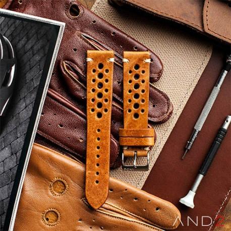 Speedy Racing Cognac Leather Strap(White Stitching)