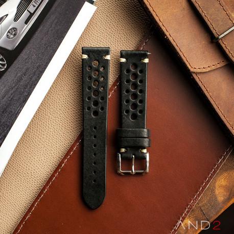 Speedy Racing Blackout Leather Strap (Beige Stitching)