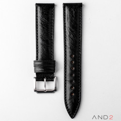 Kingsley Black Mania Leather Strap 20mm (Black Stitch)